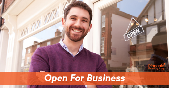 Open for business blog header