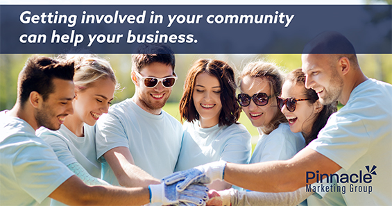 "Photo of workers with caption: ""Getting involved in your community can help your business"""