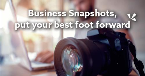 Business snapshots, put your best foot forward blog header