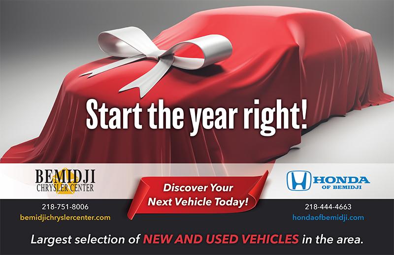 Bemidji Chrysler Center and Honda of Bemidji new year wall advertisement
