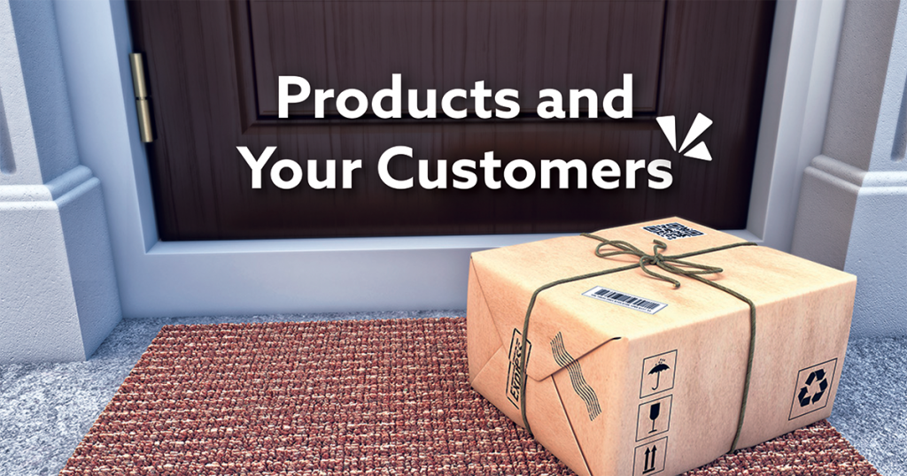 Products and your customers blog description with image of a package outside a door
