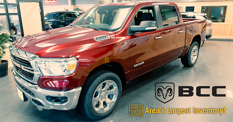 Bemidji Chrysler Center Facebook post of a red Dodge Ram truck