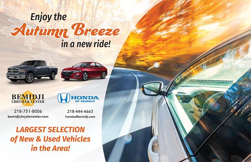 Bemidji Chrysler Center and Honda of Bemidji autumn wall advertisement