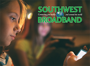 Photo of two girls on their smartphones with southwest broadband's logo