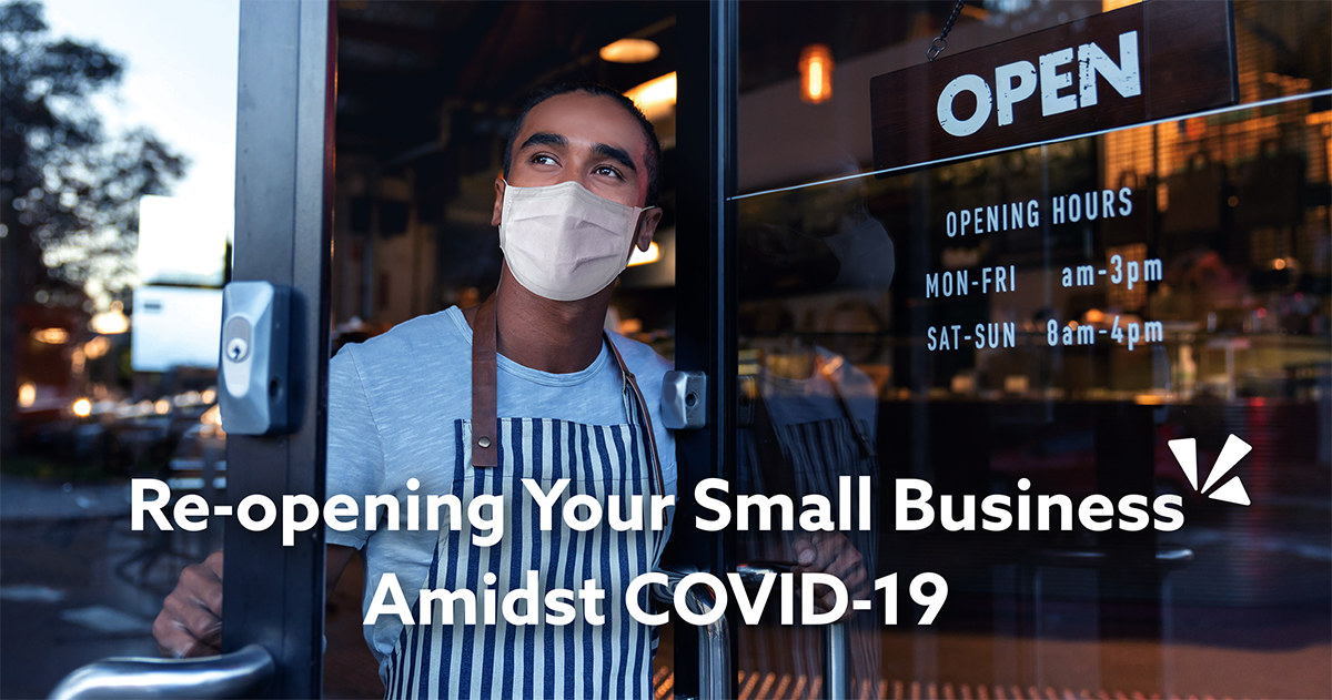 Re-opening your small business amidst COVID-19 blog description with image of a man wearing a mask standing inside a store