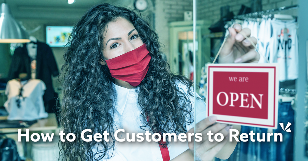 How to get customers to return blog description with image of a woman wearing a mask at a retail store