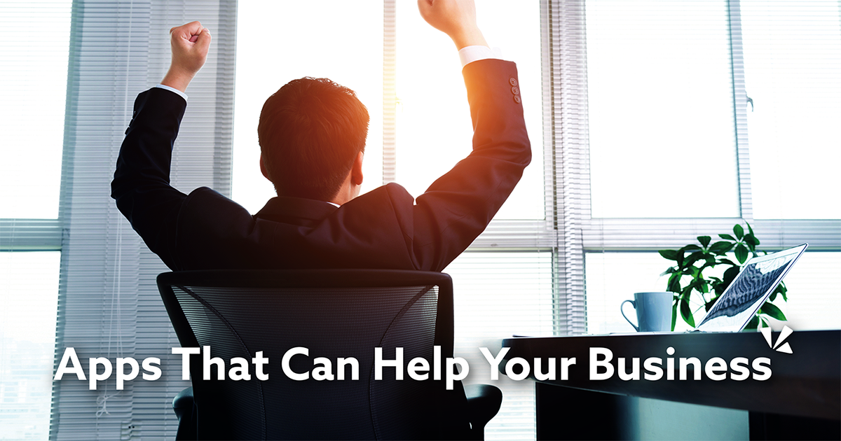 Apps that can help your business blog description with image of a man at a desk