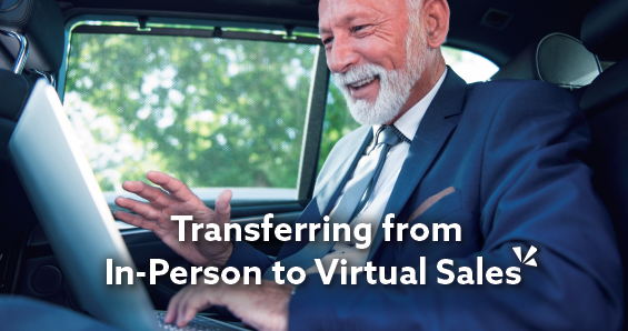 Transferring from in-person to virtual sales blog description with image of businessman on a laptop