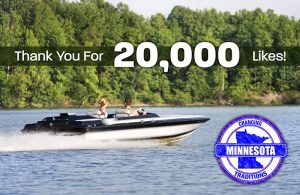 Minnesota Traditions thank you for 20,000 likes Facebook post showing two people on a boat on a lake