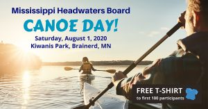 Mississippi Headwaters Board canoe day Facebook post showing two people in kayaks on the lake