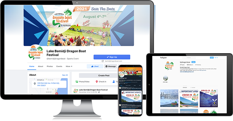 Dragon Boat social media pages on different devices