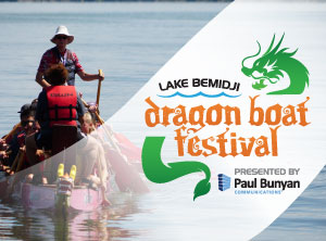 Dragon Boat Festival logo over image of lake