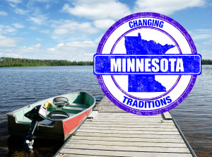 MN traditions logo over image of lake