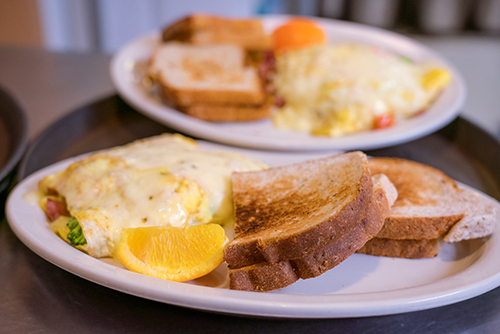 Raphael's Bakery omelet with toast on a plate