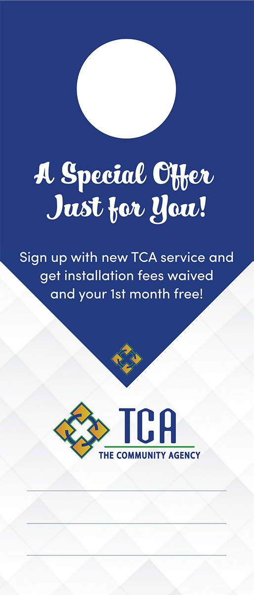 TCA blue and white door hanger advertisement