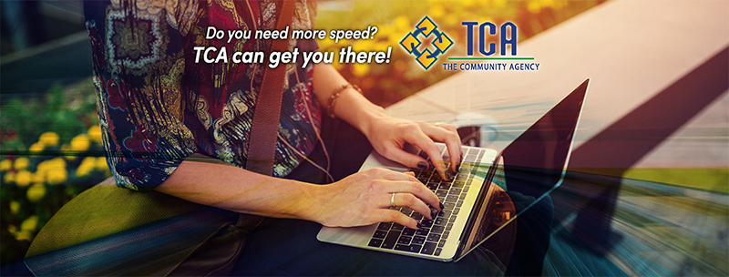 TCA Facebook advertisement showing a woman on her laptop