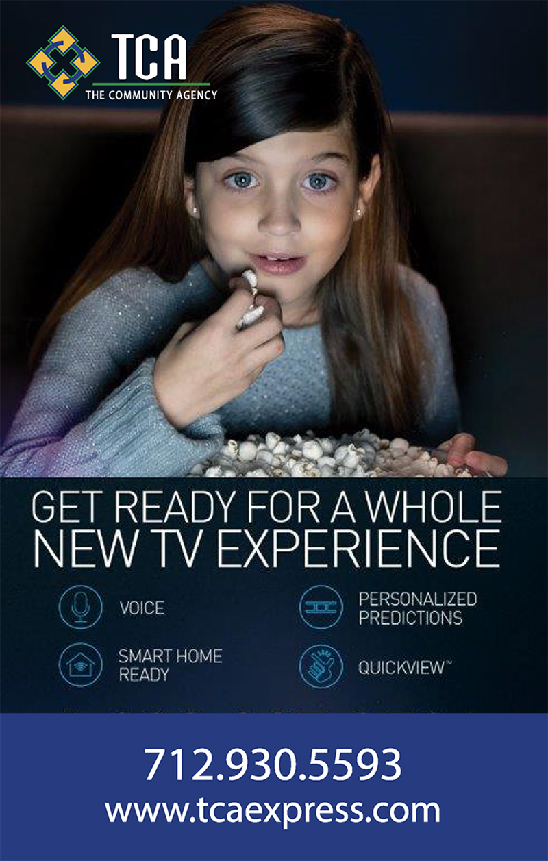 TCA newsletter advertisement showing young girl eating popcorn