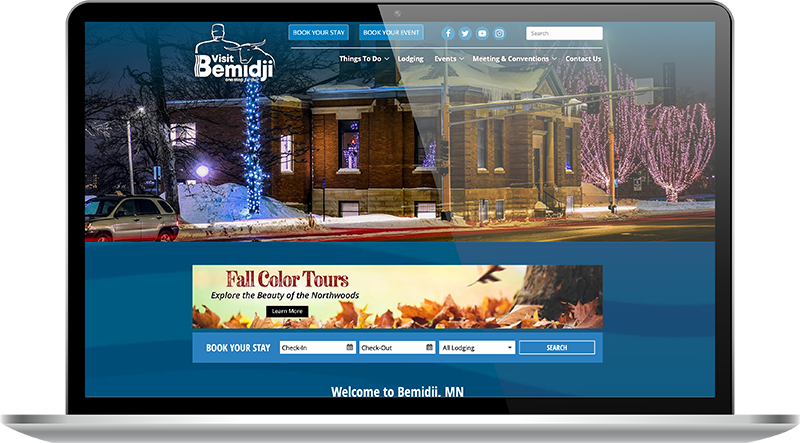 Visit Bemidji fall and winter website home page