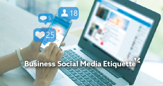 Business social media etiquette blog description with image of person holding cellphone