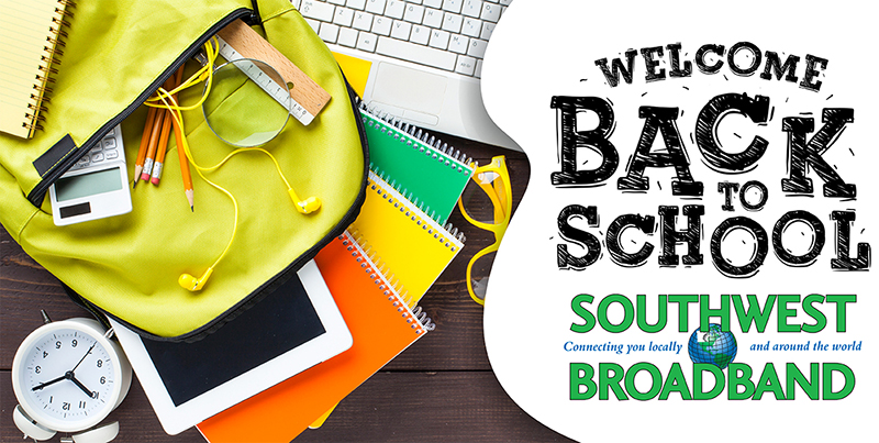 Southwest Broadband welcome back to school Facebook post with a photo of a backpack and other school supplies