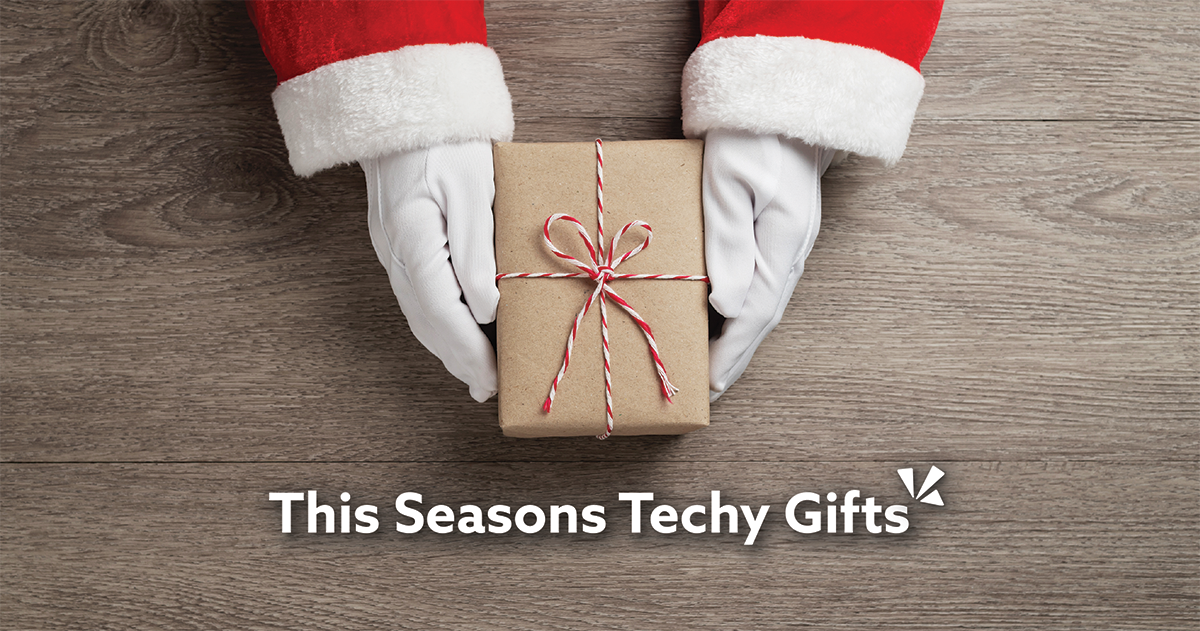 This seasons techy gifts blog description with image of Santa holding a present