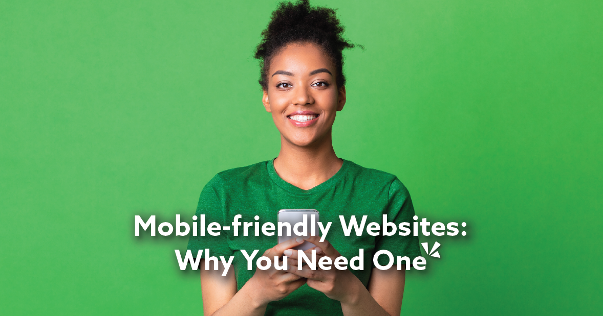 Mobile friendly websites blog post illustration with an image of a girl on her phone