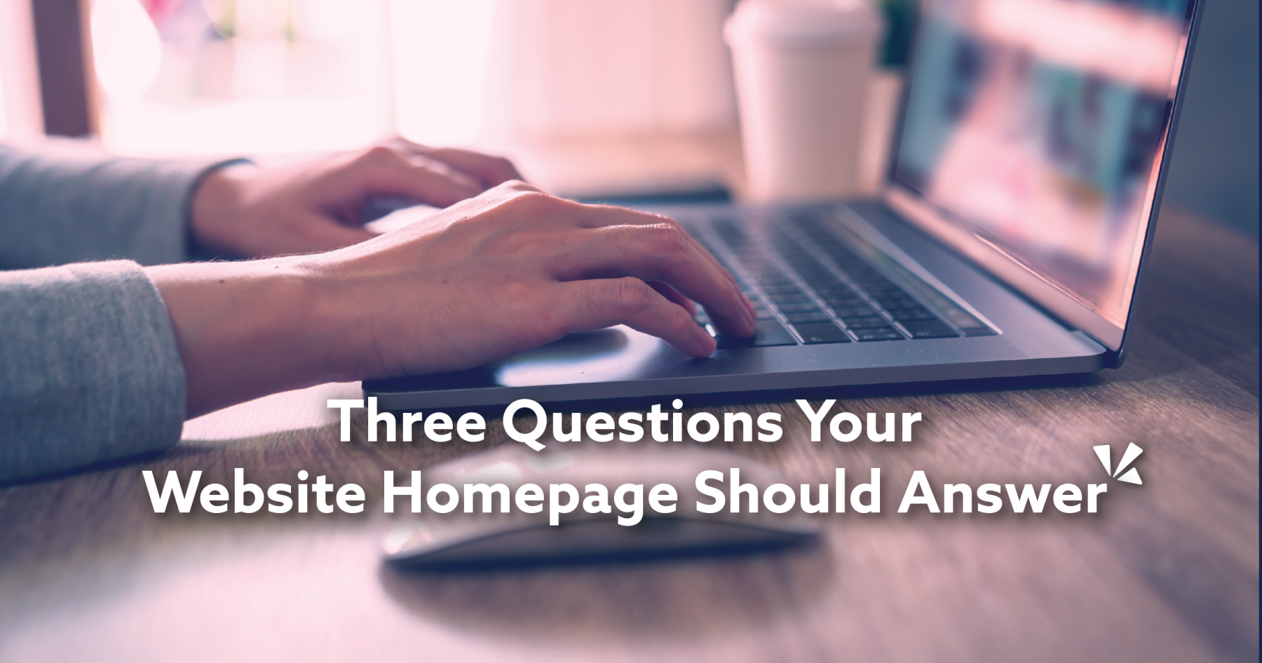 Three questions your website homepage should answer blog description with image of a woman on a laptop