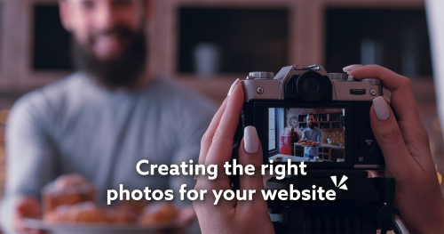 Creating the right photos for your website blog description with image of a woman holding a camera