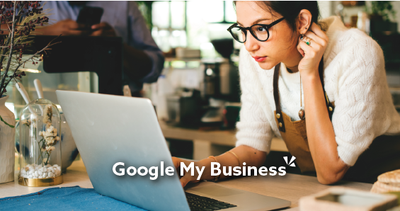 Google my business blog post with image of woman on computer
