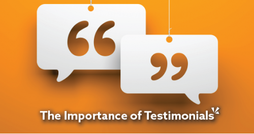 quotation marks sitting in a speech bubble hanging from a string with an orange background. showing the importance of testimonials