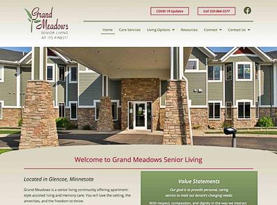 Grand Meadows Senior Living website homepage