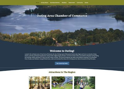 Outing Area Chamber of Commerce website homepage