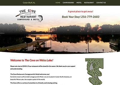 The Cove Restaurant Campground & Motel website homepage