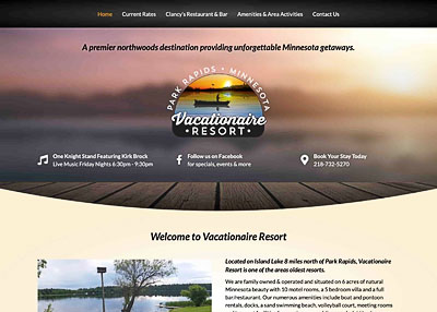 Vacationaire Resort Park Rapids website Resort