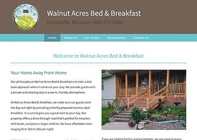 Walnut Acres Bed & Breakfast website homepage