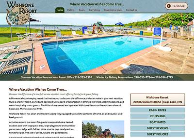 Wishbone Resort on Cass Lake website homepage