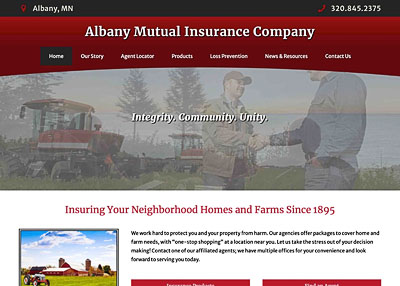 Albany Mutual Insurance Company website home page screenshot