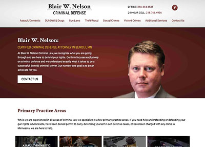 Blair W. Nelson criminal defense attorney website homepage