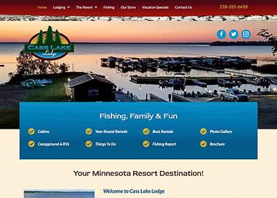 Cass Lake Lodge website homepage