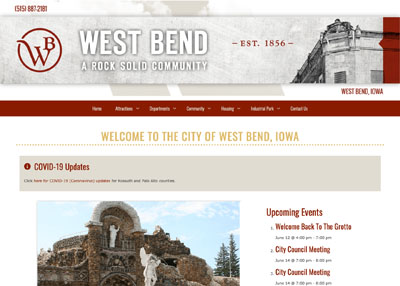 City of West Bend, IA website home page