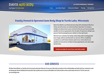 Davis Auto Body home page screenshot