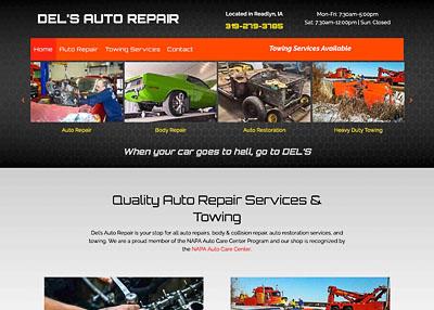 Del's Auto Repair home page screenshot