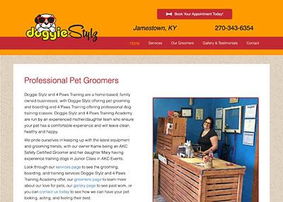 Doggie Stylz Pet Grooming website homepage