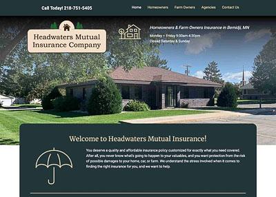 Headwaters Mutual Insurance Company home page screenshot