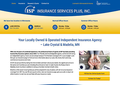 Insurance Services Plus, Inc. home page screenshot