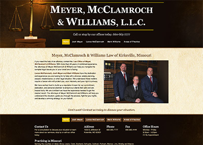 Meyer, McClamroch, and Williams Law of Kirksville website homepage