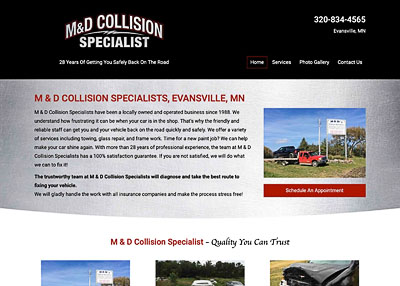 M&D Collision Specialist home page screenshot