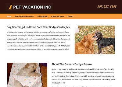 Pet Vacation, Inc. website homepage