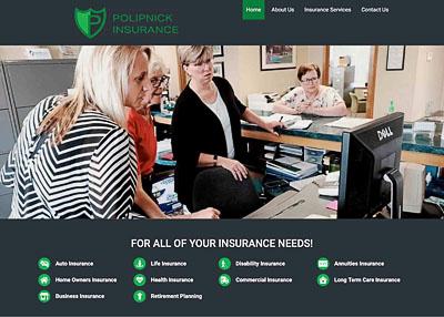 Polipnick Insurance home page screenshot