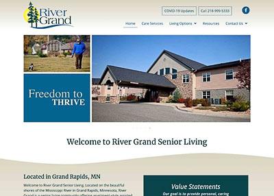 River Grand Senior Living website homepage